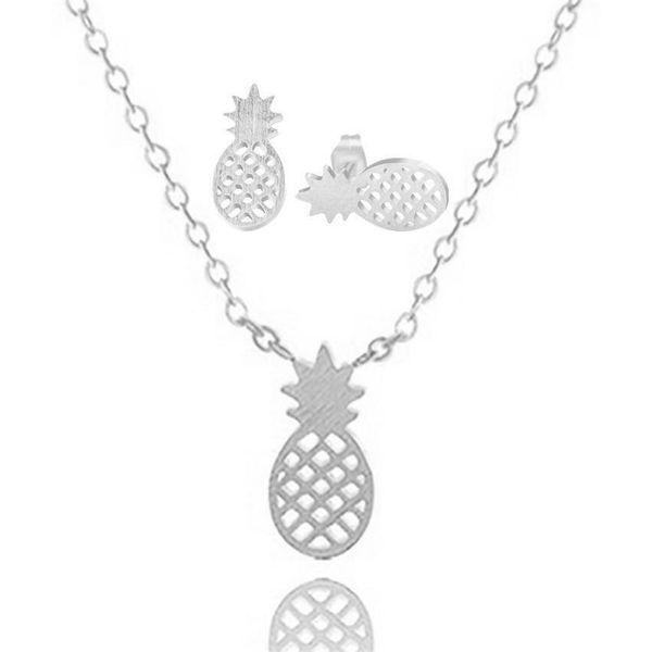 Necklace Hot Fruit Pineapple Pendant Necklace Earring Set Hollow Pineapple Earrings NHCU189052