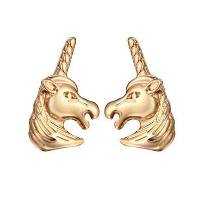 New animal unicorn earrings horse head earrings cute pony earrings wholesale NHCU189053