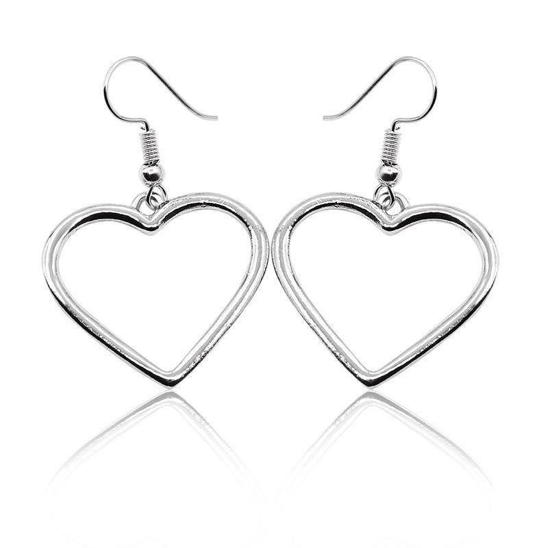 Hollow peach heart love earrings earrings handmade handmade wholesale NHCU189054