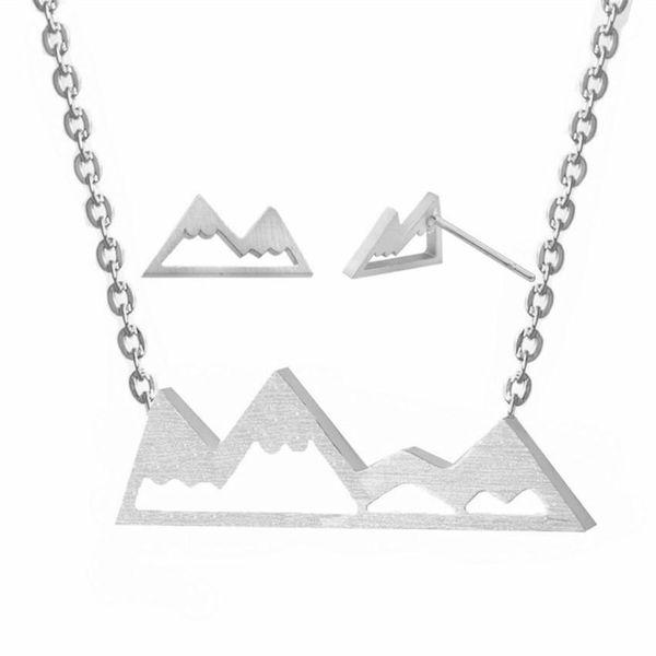 Outdoor Mountain Pendant Necklace Earring Set NHCU189060