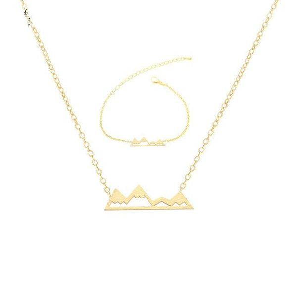 Best selling outdoor personality small mountain peak necklace bracelet set Shanlianshan bracelet NHCU189062