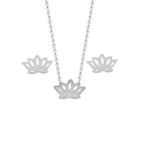 Pop Flower Lotus Lotus Collier Ear Stud Set Flower Ear Stud Necklace NHCU189064's discount tags