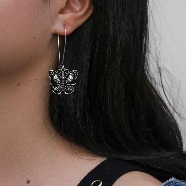 Butterfly Long Earrings Vintage Punk Skull Earrings NHPV189074