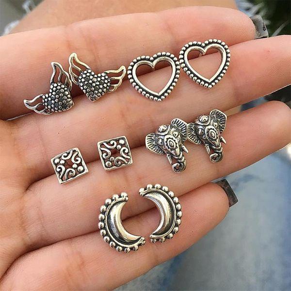 Love Wings Elephant Moon Fashion Set Stud Earrings 10 Set of Earrings NHPV189101