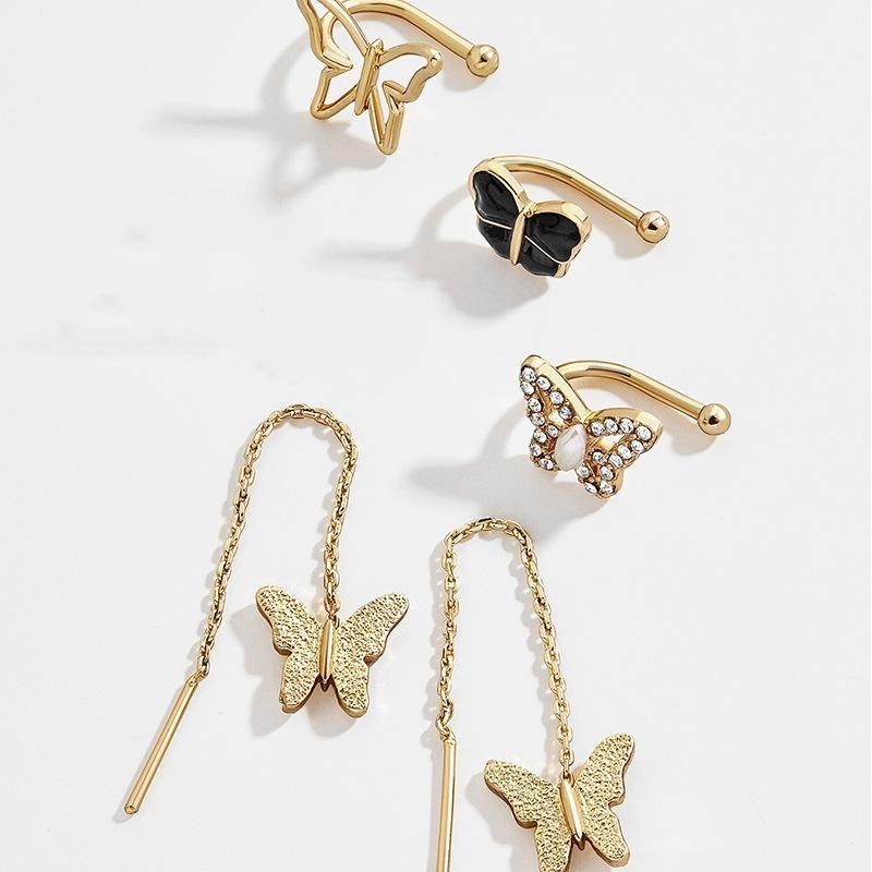 Alloy Studded Butterfly Ear Stud Earrings Simple Wild Jewelry Set Wholesale NHJQ187809