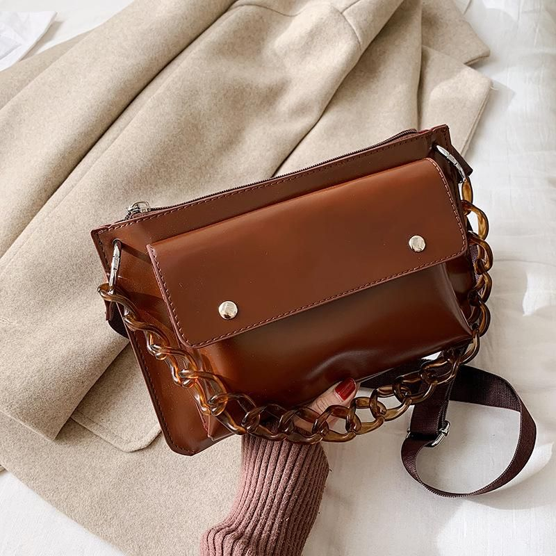 Women's bag 2019 new winter Korean version of the wild fashion small square bag retro Hong Kong style texture shoulder bag NHTC189412