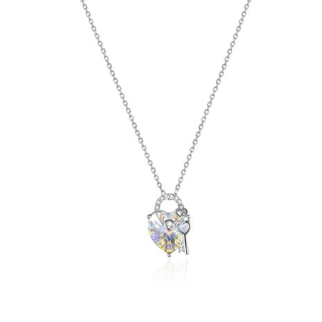 LAKANI from Swarovski Elements S925 Sterling Silver Fashion Classic Love Keyed Crystal Pendant Necklace NHKL189540's discount tags