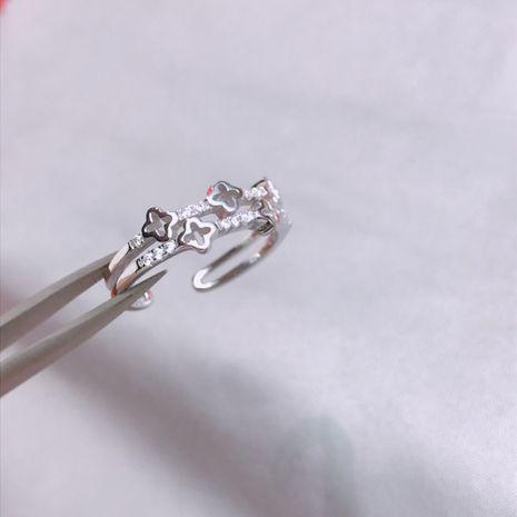 S925 Silver Seiko Five-Piece Clover Bague pour femme NHKL189543's discount tags