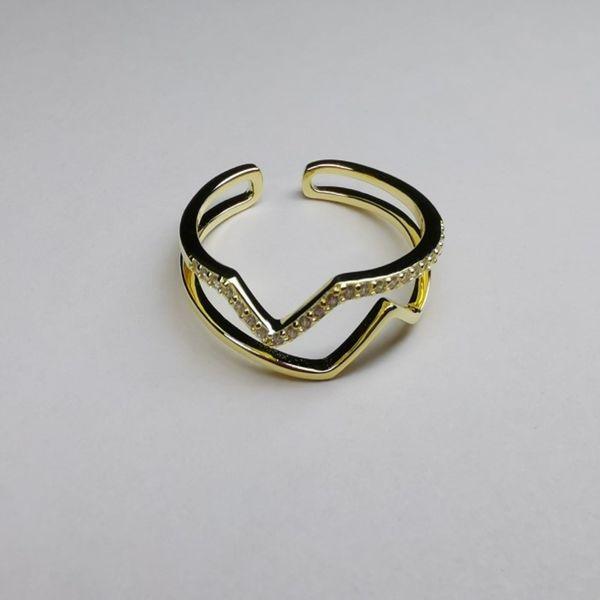 S925 Silver Seiko Single Row Diamond Double Corrugated Women's Ring NHKL189547