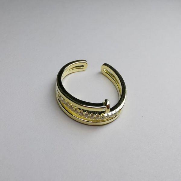 S925 Silver Seiko Cross Single Row Diamond Nail Ring NHKL189550