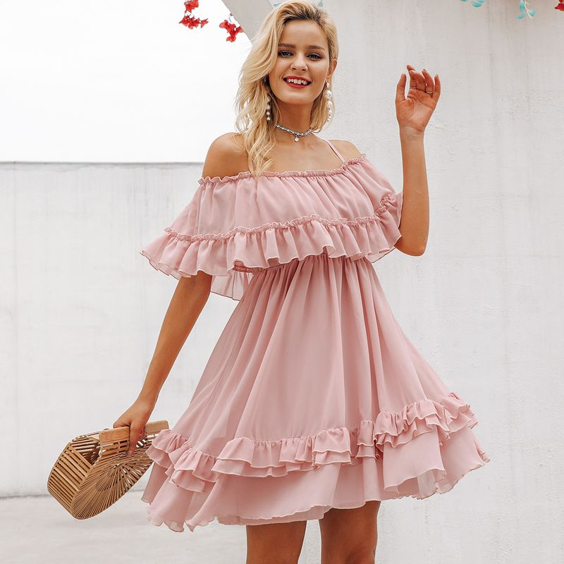 Pink lace sweet dresses wholesale fashion women's clothes NHDE189535