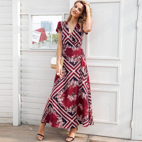 Vestido largo de gasa estampado patchwork con cuello en V ropa de mujer de moda al por mayor NHDE189504