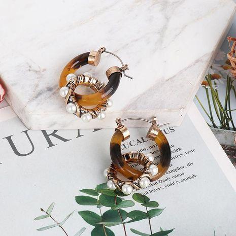 New Vintage Acrylic Bronze Pearl Earrings Geometric Earrings Women's Jewelry NHJJ189627's discount tags