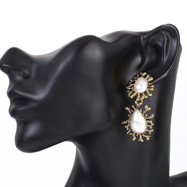 New fashion alloy inlaid pearl earrings NHBQ189638