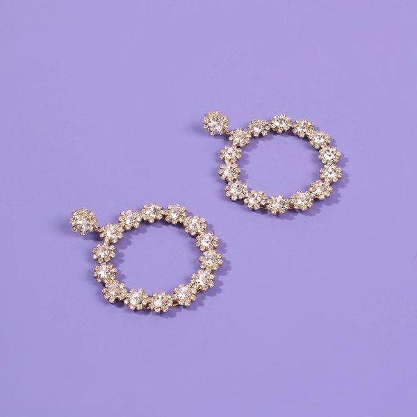 New floral earrings diamond geometric baroque earrings women's wholesale NHMD189658