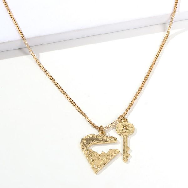 Hot fashion street photography jewelry cross-border simple alloy adjustable heart lock pendant women's necklace NHMD189664