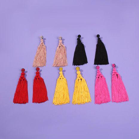 Bohemian earrings woven earrings long tassel bead earrings NHMD189669's discount tags
