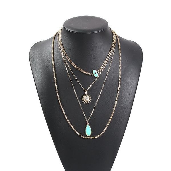 Popular fine jewelry street shooting multilayer alloy elegant pendant necklace women NHMD189672