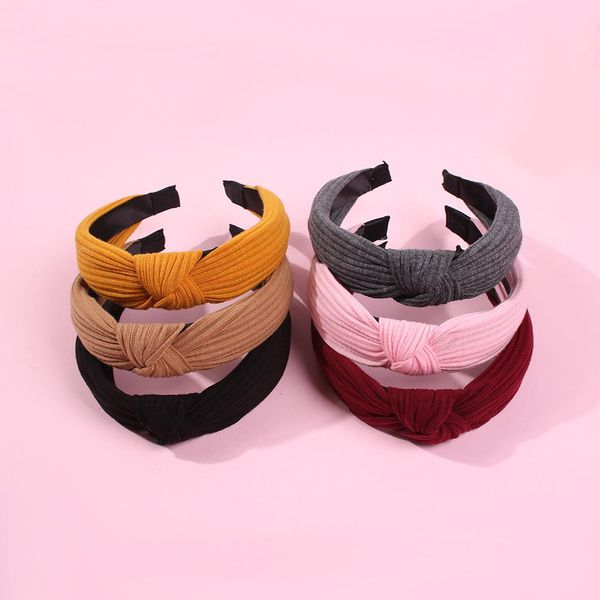 Hot vintage hair hoop fabric wide-end knotted hair accessories headband women NHMD189675