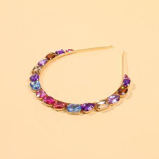 Stained glass diamond hair hoop female simple hair accessories alloy headband NHMD189679's discount tags