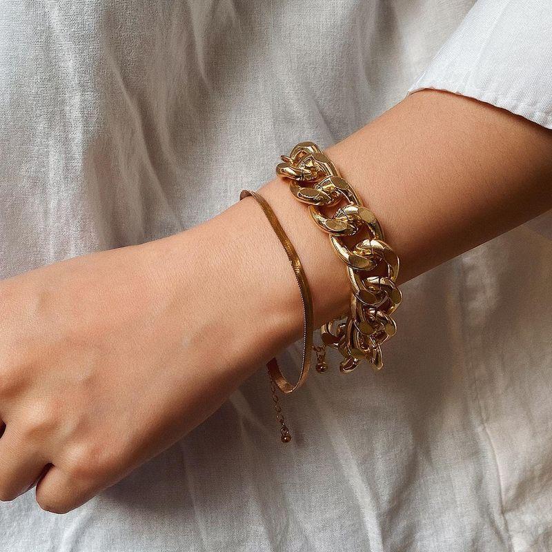 Jewelry Simple Snake Bone Chain Bracelet Hip Hop Punk Metal Chain Bracelet NHXR189716