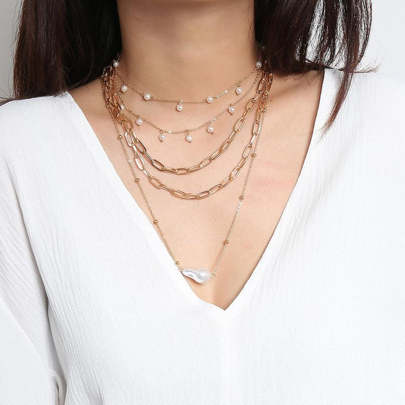 Jewelry Shaped Imitation Pearl Chain Necklace Bead Tassel Multilayer Geometric Necklace NHXR189730