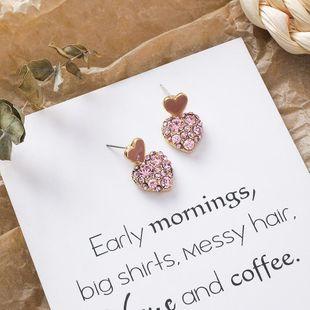 Pink Love Earrings Sweet Girl Heart Cute Diamond Heart Pink Earrings NHMS189790's discount tags