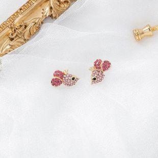 925 Silver Needle Korean Sweet Petite Rhinestone Mouse Ear Studs Diamond Zodiac Earrings NHMS189792's discount tags