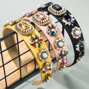 Diadema de moda diadema de cuentas barrocas de tela colorida con tocado de diamantes de vidrio NHLN189803