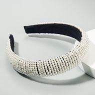 Fashion popular ladies hair hoop wide edge starry pearl headband black sponge head buckle NHLN189804