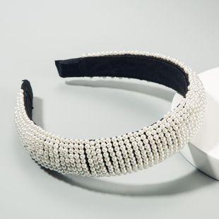 Fashion popular ladies hair hoop wide edge starry pearl headband black sponge head buckle NHLN189804's discount tags