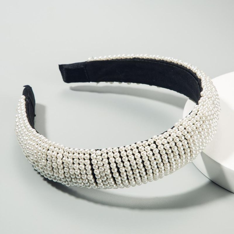 Moda popular damas pelo aro de ancho borde diadema de perlas estrelladas negro esponja hebilla de cabeza NHLN189804