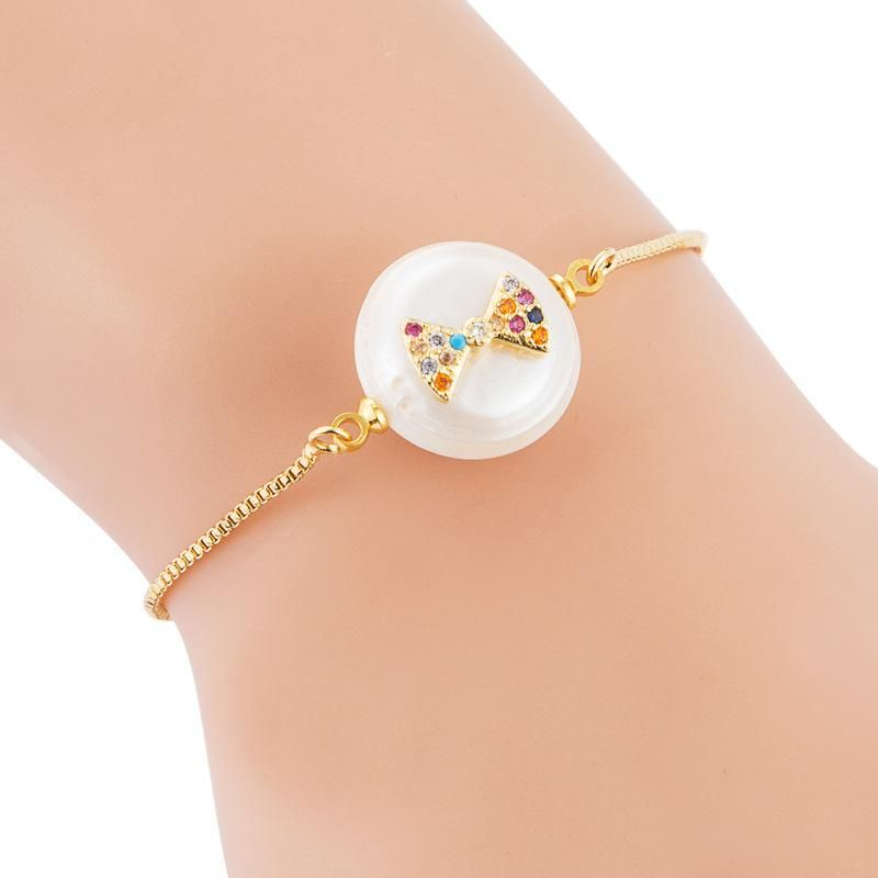 Female Bracelet Full Copper Micro Inlaid Color Zircon Pulling Adjustable Freshwater Pearl Bracelet NHLN189806