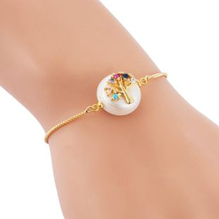 Popular Bracelet Female Full Copper Inlaid Color Zircon Pulling Adjustable Pearl Hollow Life Tree Bracelet NHLN189807's discount tags