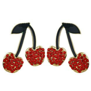 New alloy diamond earrings resin epoxy fruit cherry fashion accessories NHKC189811's discount tags