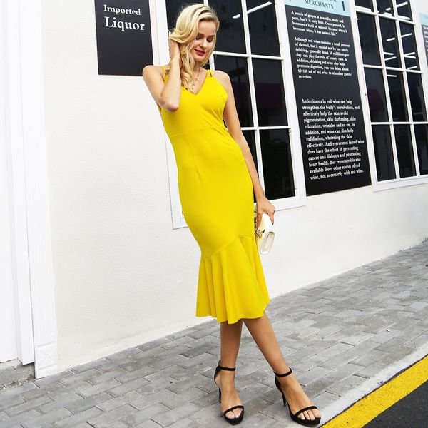 Yellow sexy open-back dresses wholesale fashion women's clothes NHDE189457