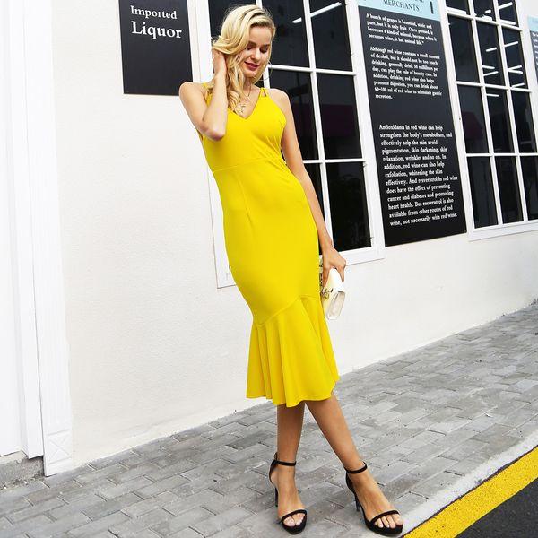 Vestidos de espalda abierta sexy amarillo ropa de mujer de moda al por mayor NHDE189457