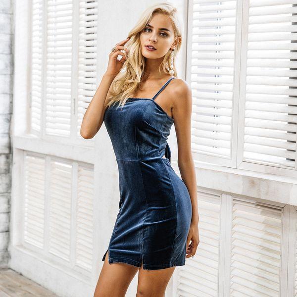 Vestidos de correa de pana al por mayor ropa de mujer de moda NHDE189444