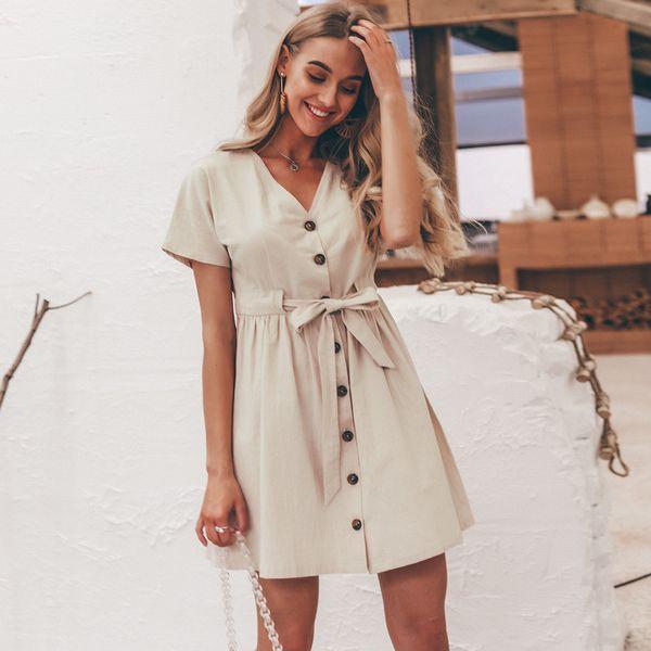 Vestido con cuello en v con cordones en beige Ropa de mujer en general de moda NHDE189536