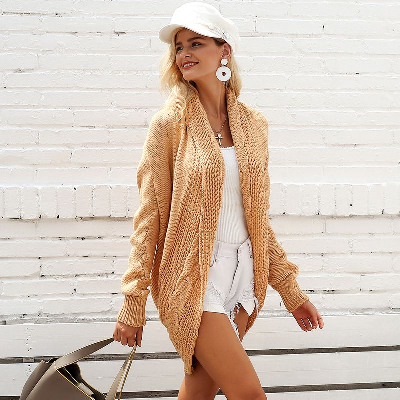 Vintage khaki shawl long shirt coats wholesale fashion women's clothes NHDE189529