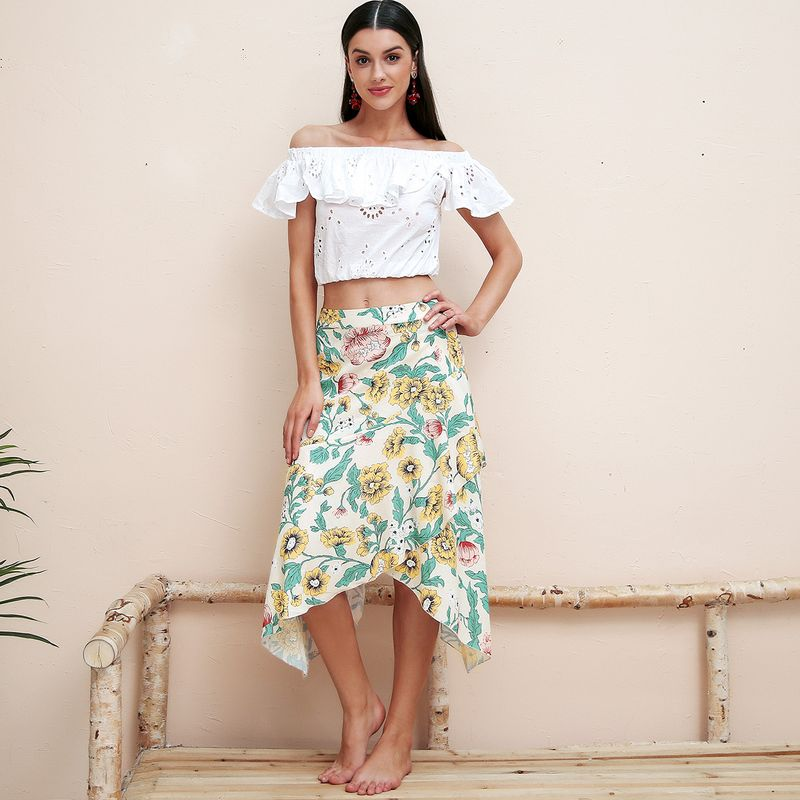 Sweet print irregular skirt women fashion women's clothes NHDE189461
