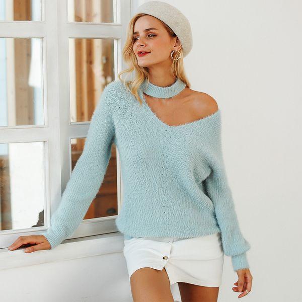 Sexy azul cómodo fuera del hombro top suéter ropa de mujer de moda al por mayor NHDE189501
