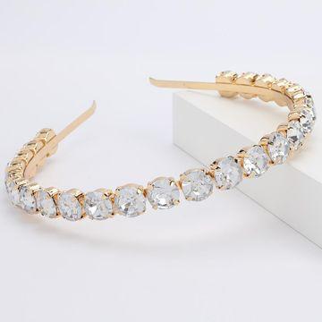 Diamante de aleación de vidrio redondo diadema de diamantes hembra super flash full diamond tocado de diadema de gama alta NHJE189833