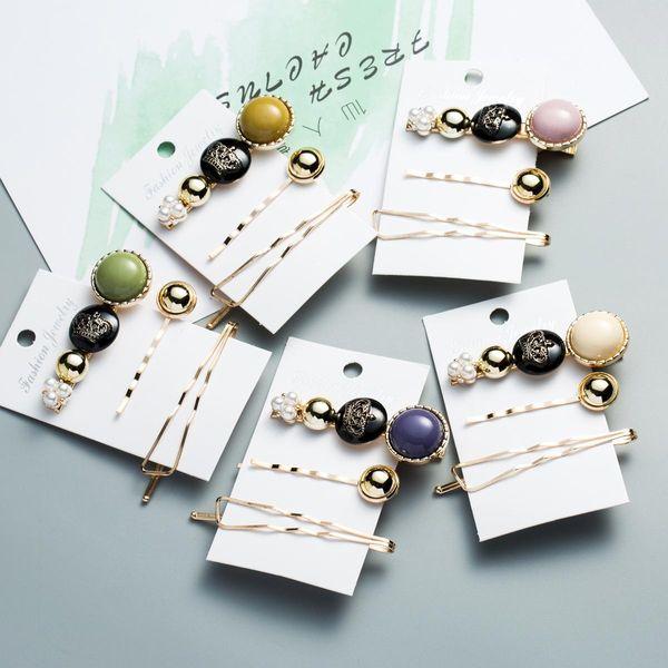 Multi-layer resin drip oil metal hair clip girl heart adult duckbill clip three-piece clip NHJE189841