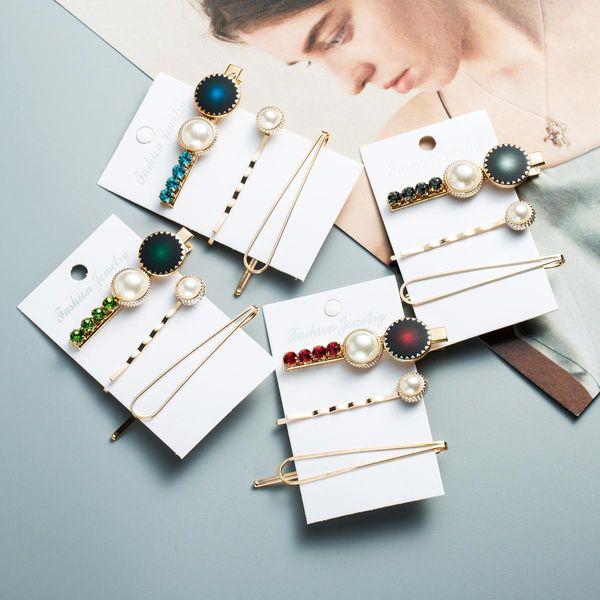 Diamond acrylic pearl hair clip female side clip bb clip duckbill clip three-piece NHJE189854