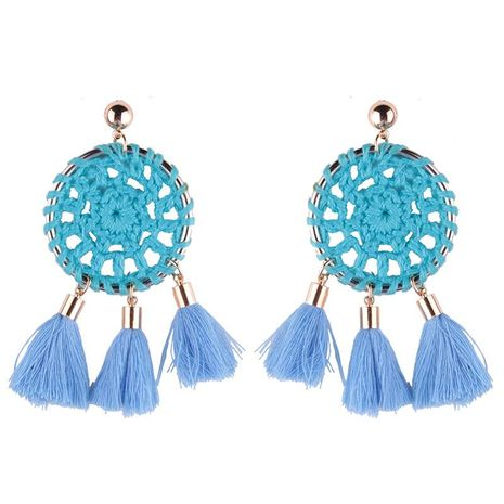 Alloy Circle Wool Hollow Short Tassel Earrings NHJQ189860's discount tags