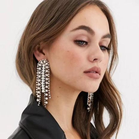 Explosion style alloy beaded tassel earrings wholesale NHJQ189862's discount tags