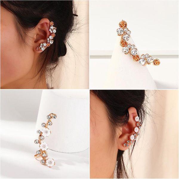 Personalized Flower Stud Earrings Simple Zircon Ear Hanging Ear Clip NHNZ189890