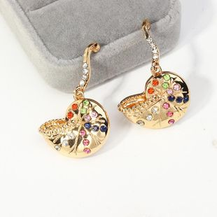 Creative snail earrings with colorful diamonds NHNZ189903's discount tags