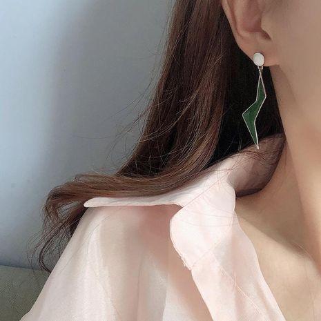 Earrings enamel glaze simple dark green earrings wild lightning earrings women NHQD189929's discount tags